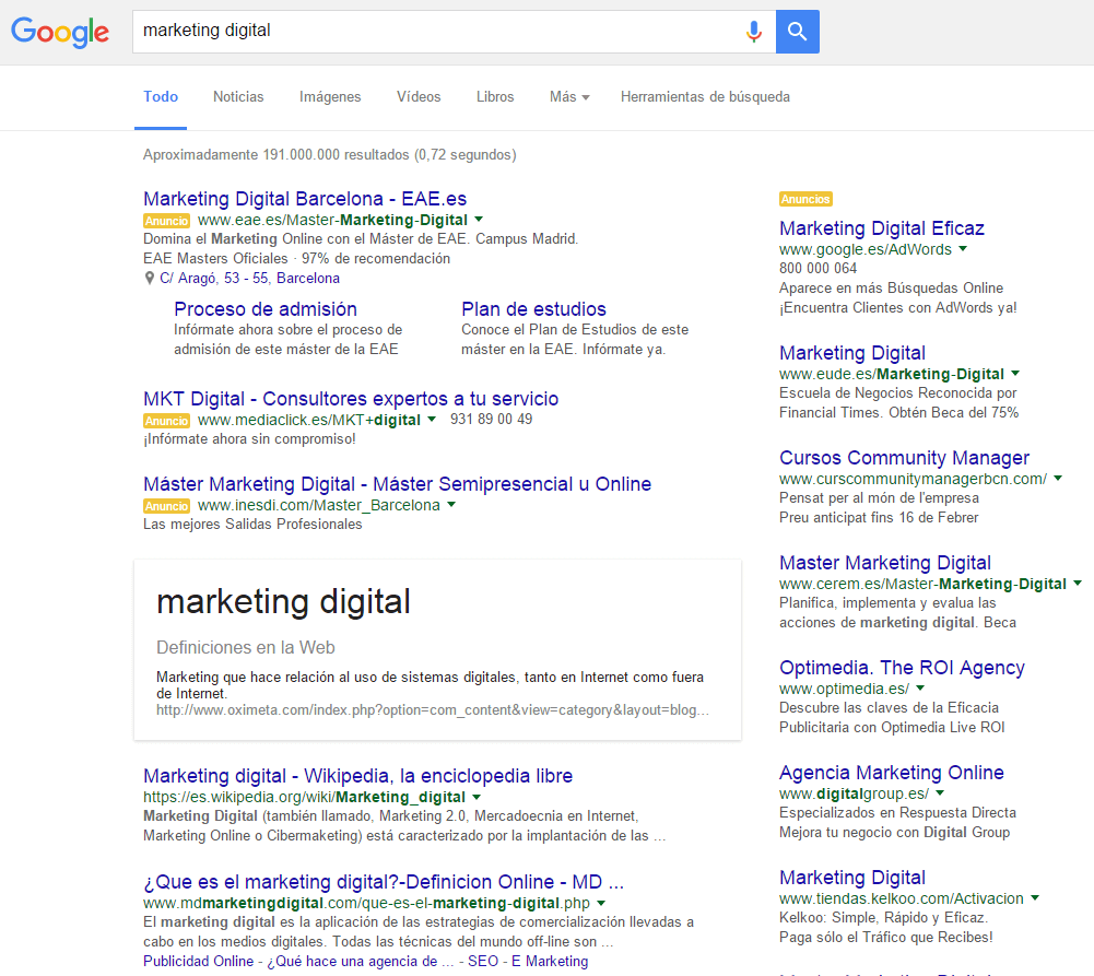 Plataforma de Marketing Google Adwords